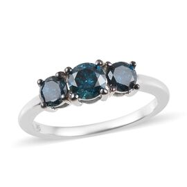 9K White Gold Blue diamond Trilogy Ring 1.01 Ct.