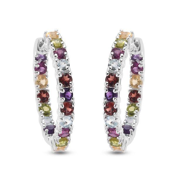 4.50 Ct Mozambique Garnet and Multi Gemstone Hoop Earrings in Sterling Silver 6.50 Grams