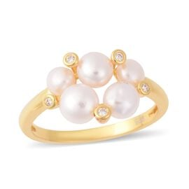 Freshwater White Pearl (Rnd), Simulated Diamond Ring in Yellow Gold Overlay Sterling Silver
