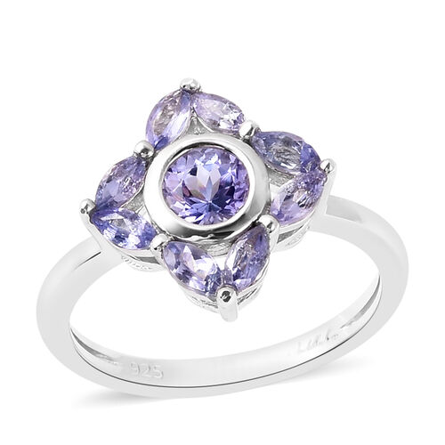 Isabella Liu Floral Collection - Tanzanite Floral Ring in Rhodium Overlay Sterling Silver