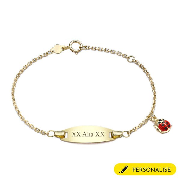 Personalised 18CT Gold Lady Bug Children ID Bracelet, Size 5.5 Inch