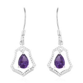 Amethyst (Pear) Earrings (with Hook) in Sterling Silver 1.250 Ct.