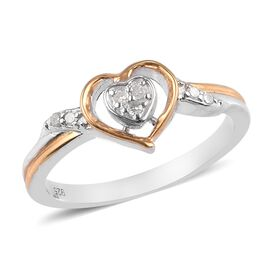 White Diamond Heart Ring in Yellow Gold and Platinum Overlay Sterling Silver