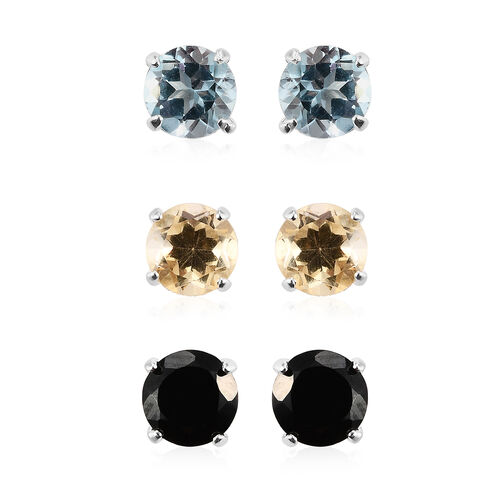 Set of 3 - Sky Blue Topaz, Boi Ploi Black Spinel and Citrine Stud Earrings (with Push Back) in Sterl