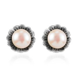 Pink Freshwater Pearl Floral Stud Earrings (with Push Back) in Sterling Silver