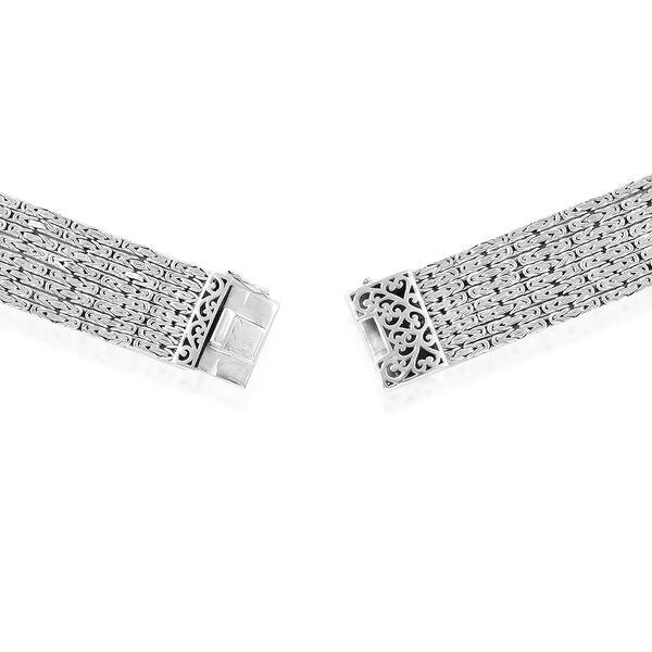 Royal Bali Collection EON 1962 Swiss Movement Sterling Silver MOP Tulang Naga Bracelet Watch (Size 6.75), Silver wt 69.46 Gms.