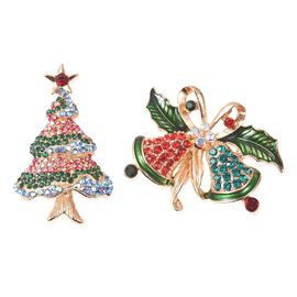 2 Piece Set - Multicolour Austrian Crystal (Rnd) Christmas Tree and Jingle Bells Enamelled Brooch in
