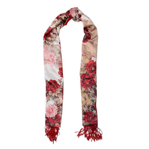 Double Sided Digital Flowers Printed Red, Pink, White and Multi Colour Scarf with Fringes (Size 165x50 Cm)