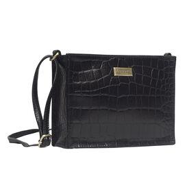 ASSOTS LONDON Susan Rectangle Croc Crossbody Bag with Adjustable Strap (Size 20x15x6cm) - Black