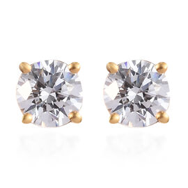 J Francis Swarovski Zirconia 14K Gold Overlay Sterling Silver Stud Earrings (with Push Back) 1.00 Ct
