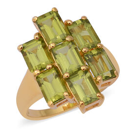 6.81 Ct Hebei Peridot Cluster Ring in Gold Plated Sterling Silver 5.10 Grams
