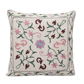 Assots London Hand Made 100% Cotton Embroidered Cushion Cover (Size 45x45cm) - Pink & Yellow