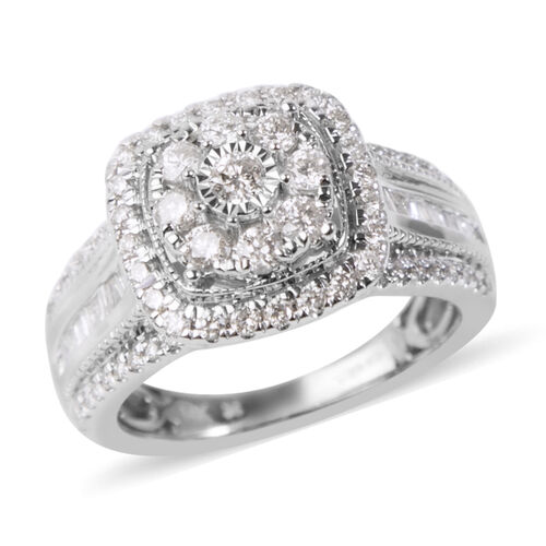 NY Close Out Deal 1 Carat Diamond Cluster Ring in 14K White Gold I1 I2 GH