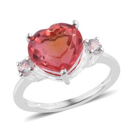 Padparadscha Quartz (Hrt 4.00 Ct), White Topaz Ring in Sterling Silver 4.250 Ct.