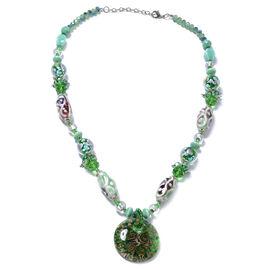 Green Colour Murano Style Glass (Rnd), Multi Colour Simulated Diamond, Green Quartzite Beads Necklac