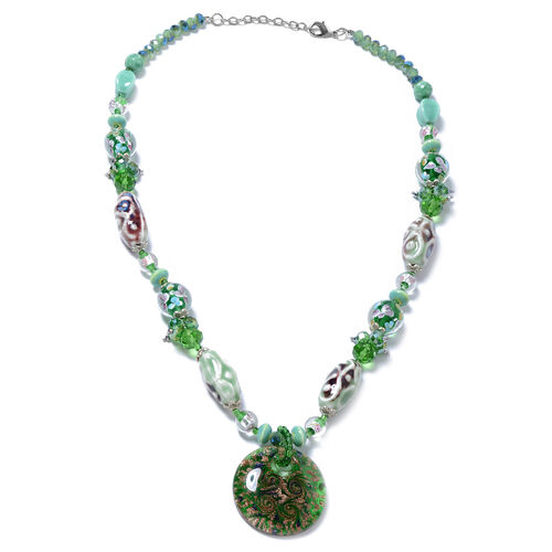 Green Colour Murano Style Glass (Rnd), Multi Colour Simulated Diamond, Green Quartzite Beads Necklace (Size 28 and 2.5 inch Extender)