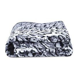 Super Soft Microfibre Plush Blanket  Leopard Print (Size 150x200 Cm) - Grey and Black