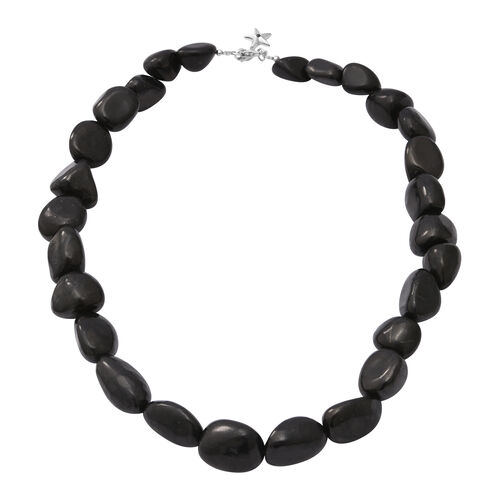 GP 350.03 Ct Shungite and Blue Sapphire Star Charm Beaded Necklace in Rhodium Plated Silver 18 Inch