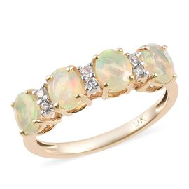 9K Yellow Gold Ethiopian Welo Opal and Natural Cambodian Zircon Ring 1.00 Ct.