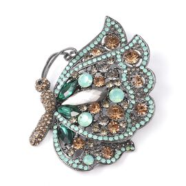 Simulated Grey Spinel and Multi Gemstone Butterfly Brooch in Black Tone