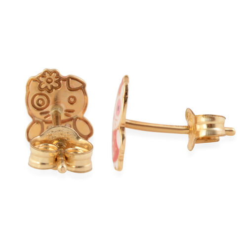 Children Kitty Stud Earrings in 9K Yellow Gold