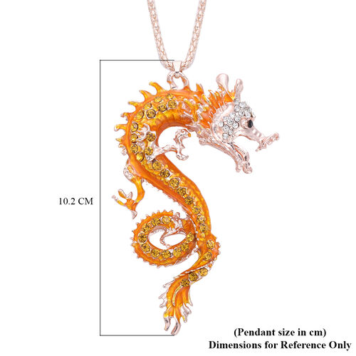 Multi Colour Austrian Crystal Enamelled Dragon Pendant with Chain (Size 30 with Extender) in Rose Gold Tone