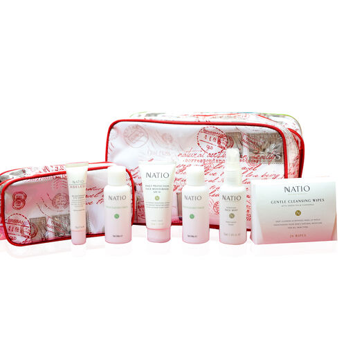 Natio Travel Set , Cleansing Wipes x 24, Moisturiser 50g, Eye Cream 20g, Face Mist 75ml, 2 Empty Travel bottles and a Large and Small Toiletry Bag Estimated delivery within 5-7 working days