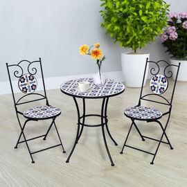 3 Piece Set - Floral Pattern Mosaic Bistro Set Table (Size:60x60x70Cm) and 2 Chairs (Size:39x44x90Cm