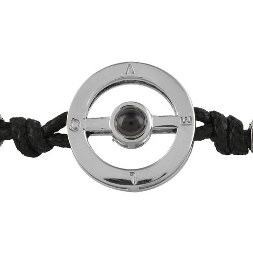 I Love You in Different Languages Projection Bracelet (Size 6-10)  with Simulated Diamond in Black Colour and Silver Tone