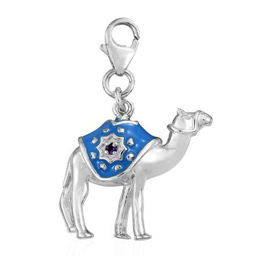 Amethyst Enamelled Camel Charm in Platinum Plated Silver 6.66 grams