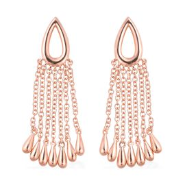 LucyQ Rose Tassels Drip Earrings with Push Back in Gold Plated Silver 6.03 Grams
