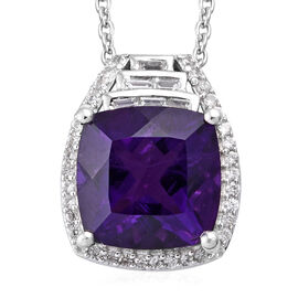 5.5 Ct Lusaka Amethyst and Cambodian Zircon Pendant with Chain in Sterling Silver 18 Inch