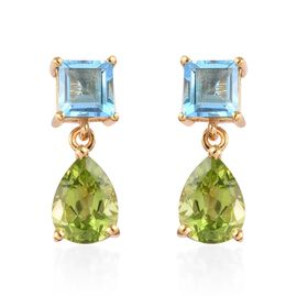 Hebei Peridot and Swiss Blue Topaz Drop Earrings (with Push Back) in 14K Gold Overlay Sterling Silve