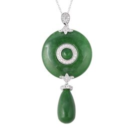 60.02 Ct Green Jade and Zircon Disc Style Drop Pendant With Chain in Rhodium Plated Silver