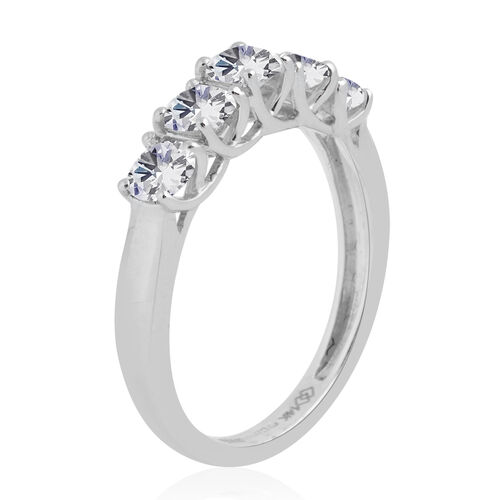 New York CloseOut 14K White Gold 5 Stone Diamond Eternity Ring 1.00 Ct. Colour G-H Clarity I1-I2