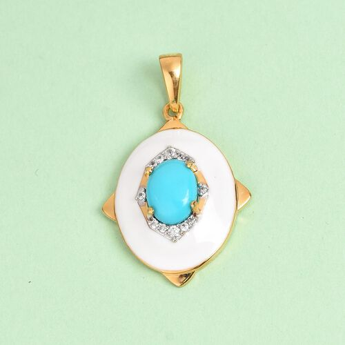 Arizona Sleeping Beauty Turquoise and Natural Cambodian Zircon Enamelled Pendant in 14K Gold Overlay Sterling Silver 1.16 Ct.