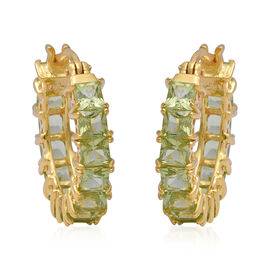 AA Hebei Peridot Hoop Earrings in Yellow Gold Overlay Sterling Silver 4.76 Ct.