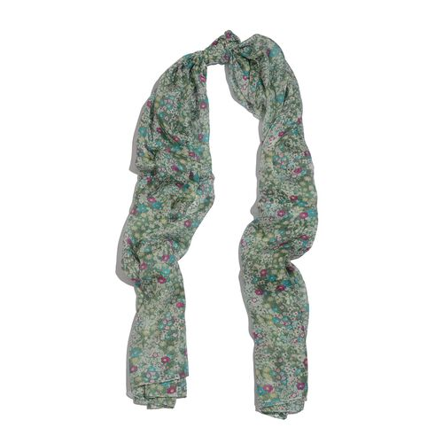 100% Mulberry Silk Pink, Green and Multi Colour Floral Pattern Scarf (Size 175x100 Cm)