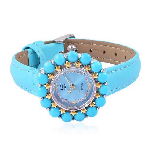 EON 1962 Swiss Movement Arizona Sleeping Beauty Turquoise Sterling Silver Watch with Free Earrings Gemstone Wt. 8.000 Ct. Sterling Silver Wt 24 Gms.