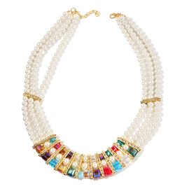 Multi Color Beads, Simulated White Pearl and White Austrian Crystal Necklace (Size 20) in Gold Tone