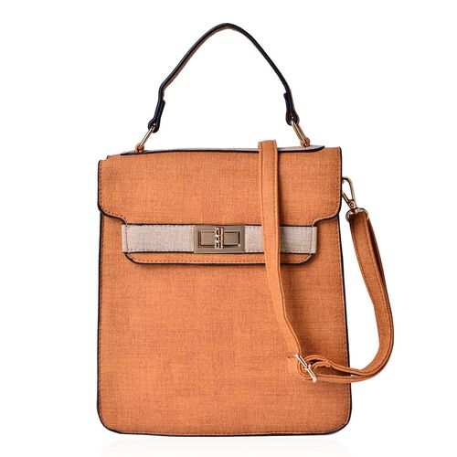 Marella Tan Crossbody Bag with Adjustable and Removable Shoulder Strap (Size 25.5x22.5x9 Cm)
