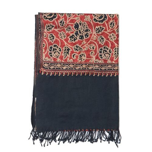 Limited Available - 100% Merino Wool Floral Embroidered Black, Red and Multi Colour Shawl (Size 200x70 Cm)