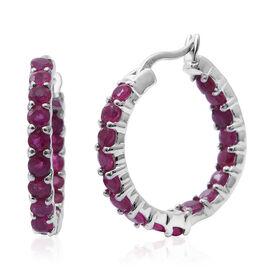 Burmese Ruby (Rnd) Hoop Earrings (with Clasp Lock) in Rhodium Plated Sterling Silver 3.010 Ct.