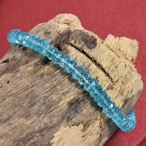 Paraibe Apatite (Rnd) Beads Bracelet (Size 7.5 with Half inch Extender) in Platinum Overlay Sterling Silver 37.680 Ct.