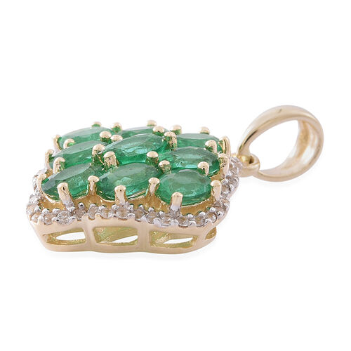 Designer Inspired- 9K Yellow Gold AA Kagem Zambian Emerald (Ovl), Natural White Cambodian Zircon Pendant 3.250 Ct.