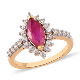 African Ruby (FF) and Natural Cambodian Zircon Ring in 14K Gold Overlay Sterling Silver 2.25 Ct.