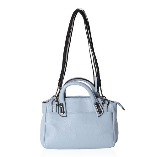 Premium Super Soft  Leather  Blue Colour Tote Bag with External Zipper Pocket and Removable Shoulder Strap (Size 32x28x20x12 Cm)