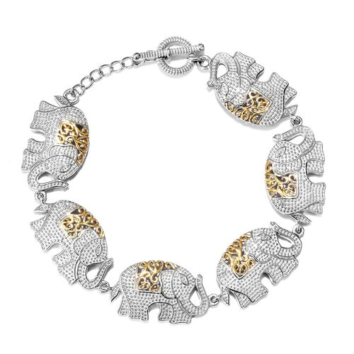 Designer Inspired Elephant Bracelet (Size 7.5) in Platinum and Yellow Gold Plated