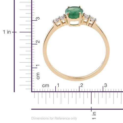 Exclusive Edition- 9K Yellow Gold AAA Kagem Zambian Emerald (Ovl 1.00 Ct), Natural Cambodian Zircon Ring 1.150 Ct.