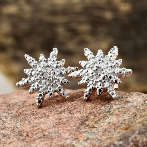 Starburst Diamond (Rnd) Stud Earrings (with Push Back) in Rose Gold Overlay Sterling Silver